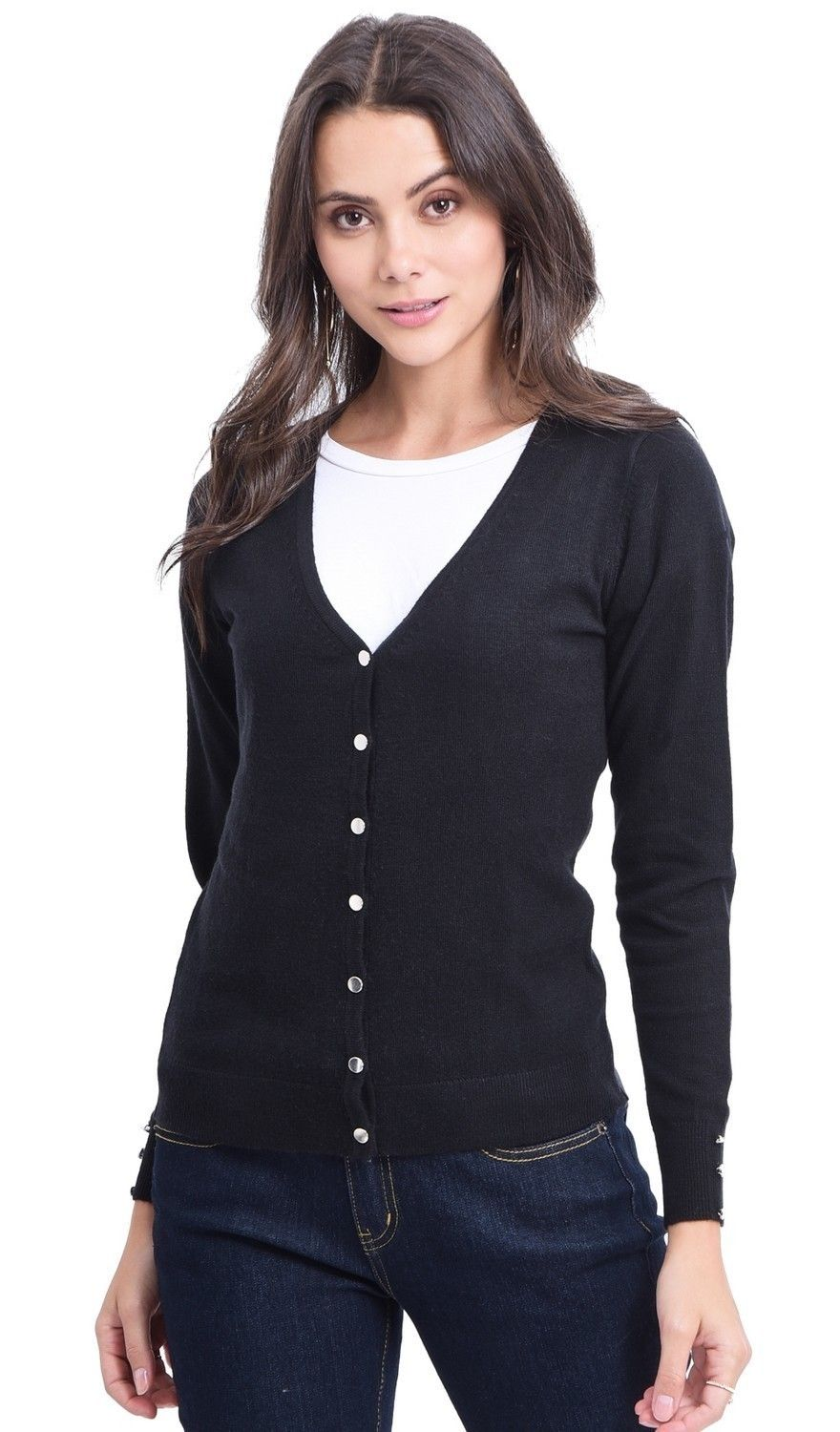 C&JO V-neck Cardigan with Silver Buttons in Black