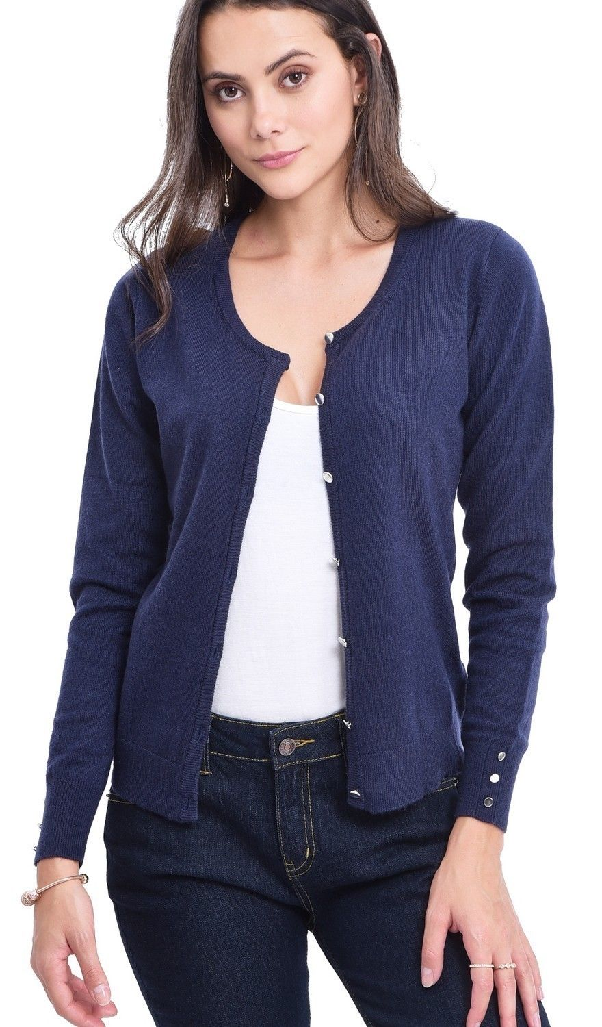 C&JO Round Neck Cardigan with Silver Buttons in Navy