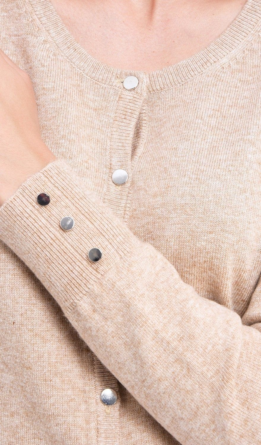 C&JO Round Neck Cardigan with Silver Buttons in Beige