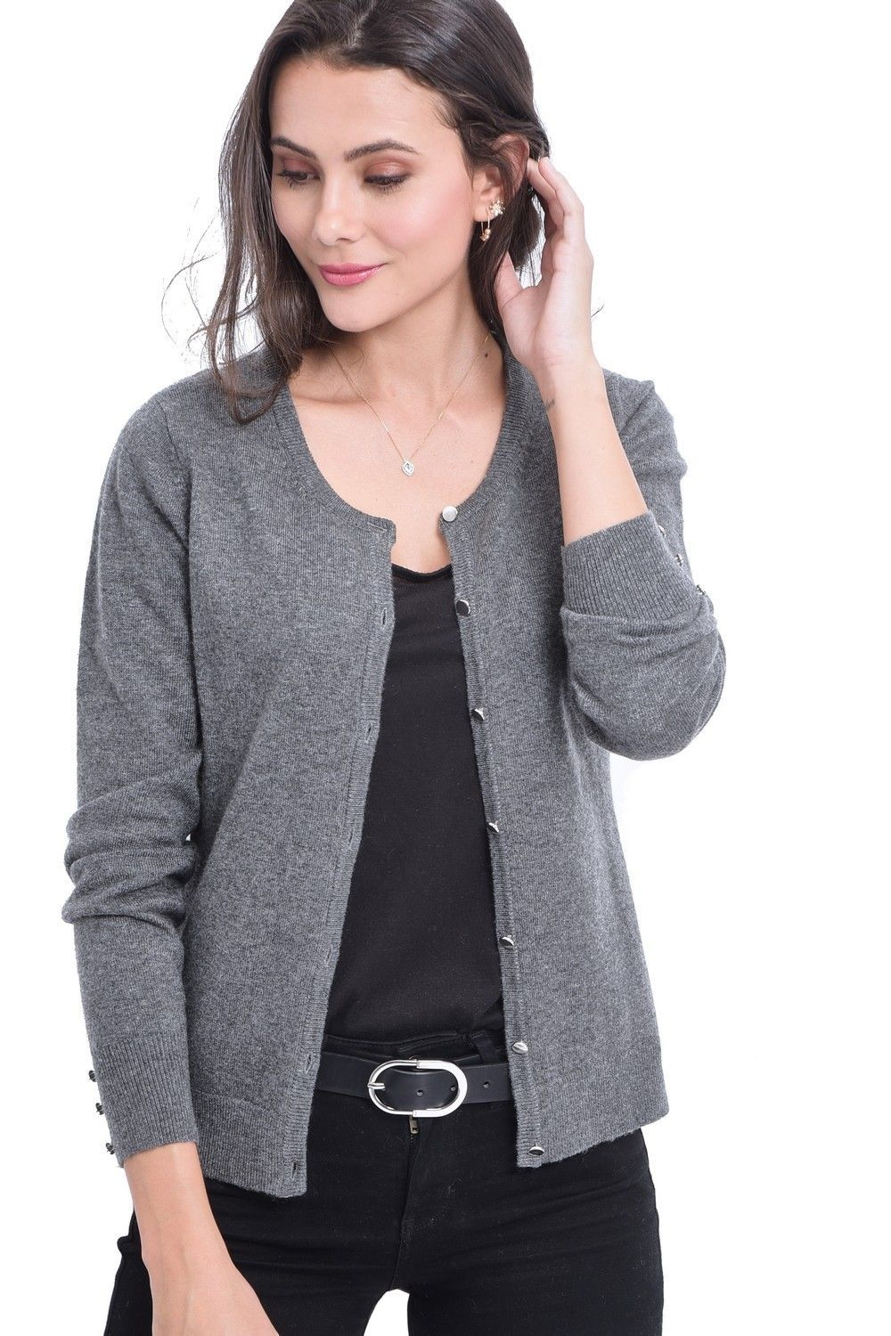 C&JO Round Neck Cardigan with Silver Buttons in Grey