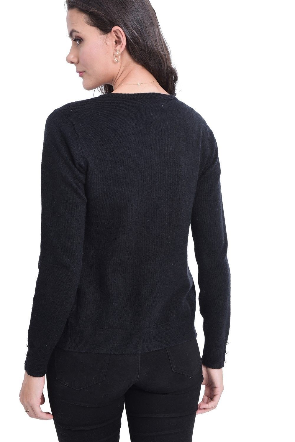 C&JO Round Neck Cardigan with Silver Buttons in Black