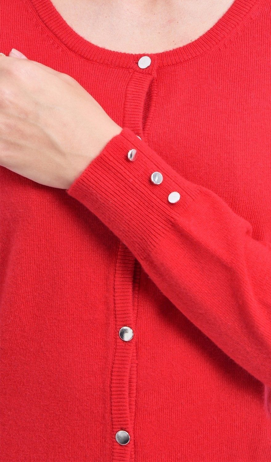 C&JO Round Neck Cardigan with Silver Buttons in Red