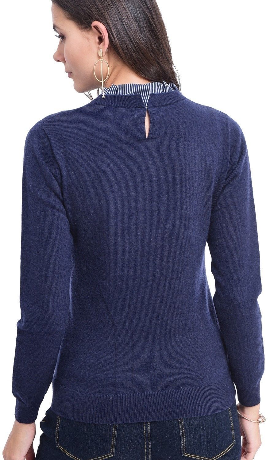 C&JO High Neck Striped Collar Sweater in Navy