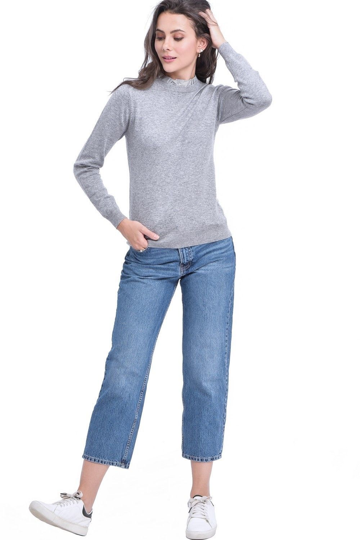 C&JO High Neck Striped Collar Sweater in Light Grey