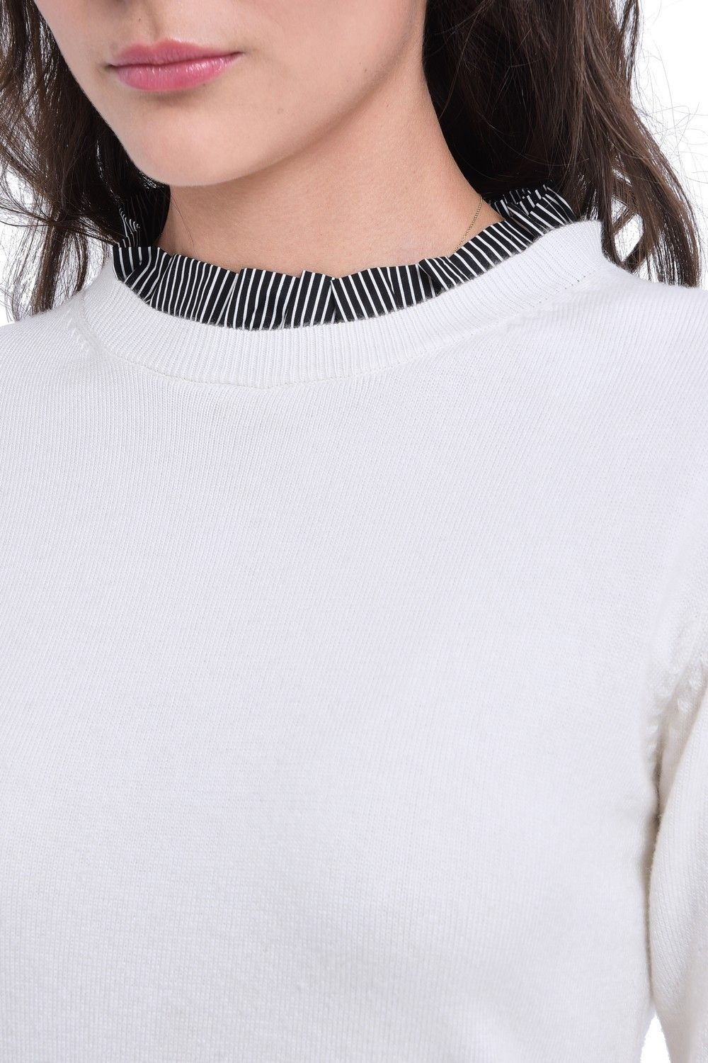 C&JO High Neck Striped Collar Sweater in Natural