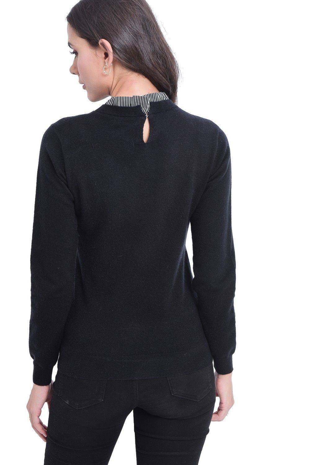 C&JO High Neck Striped Collar Sweater in Black