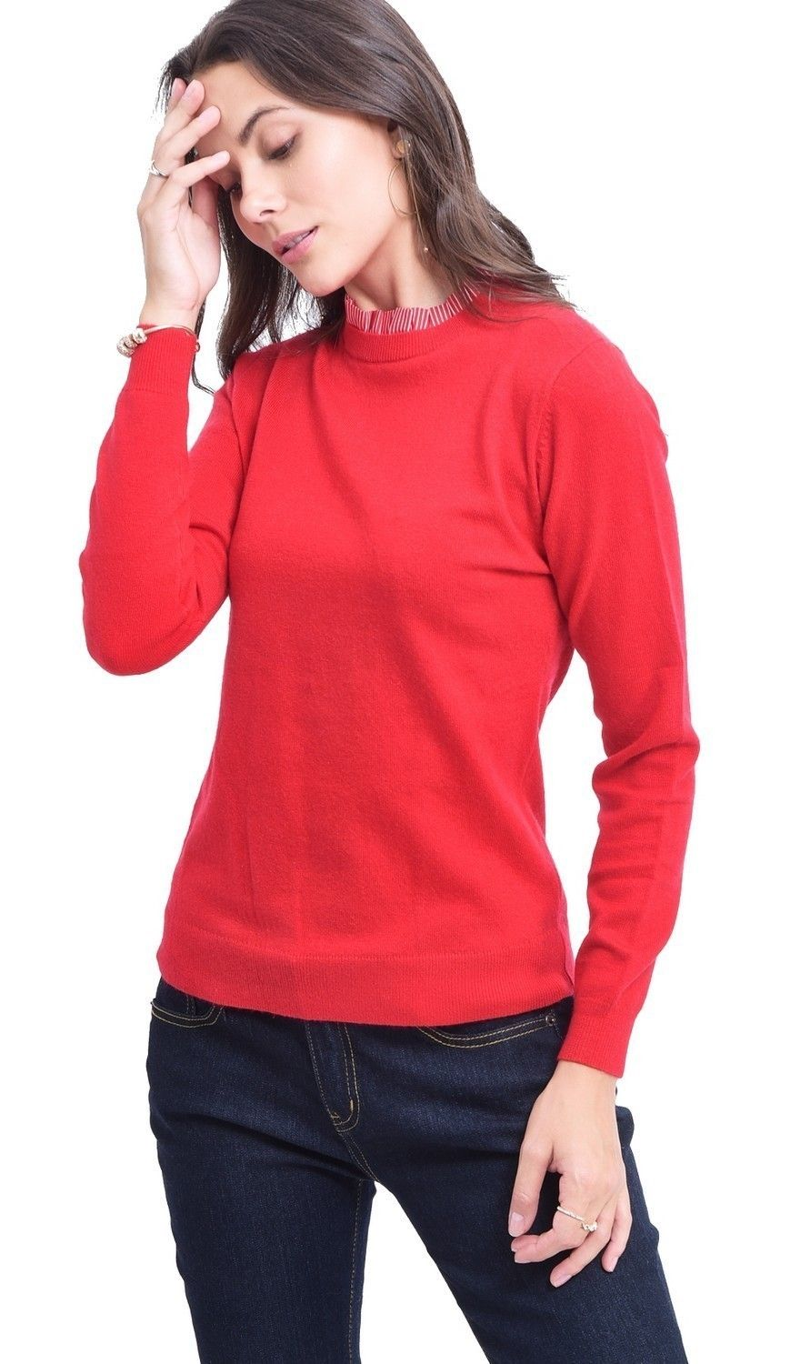 C&JO High Neck Striped Collar Sweater in Red