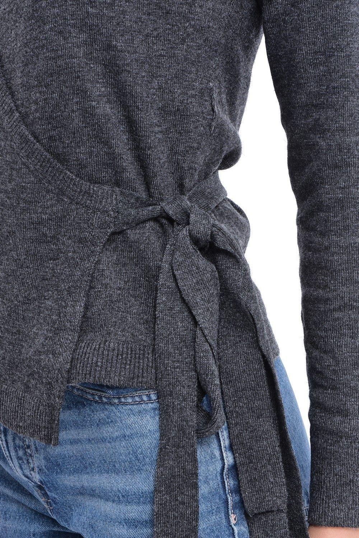 C&JO Wrapover Tie-side Cardigan in Grey
