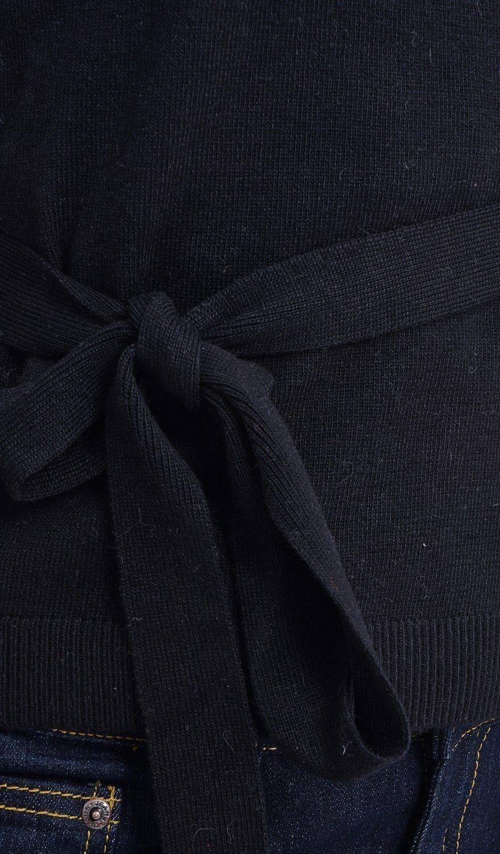 C&JO Wrapover Tie-side Cardigan in Black