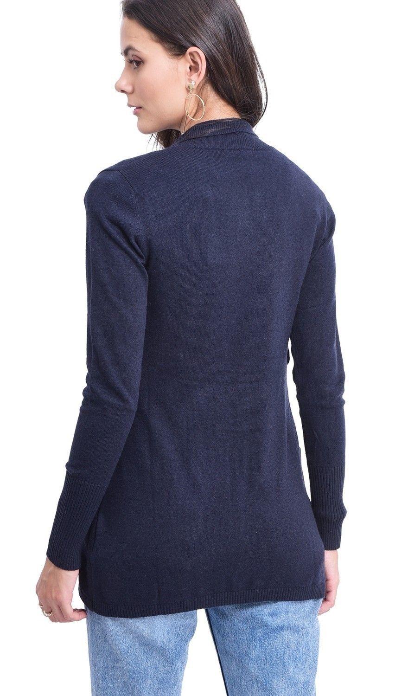 C&JO Longline Shawl Collar Cardigan with Pockets in Navy