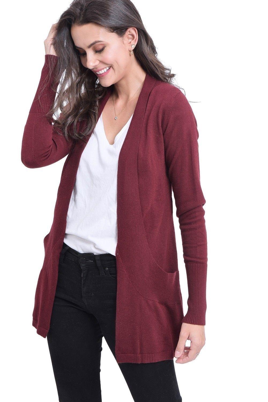 C&JO Longline Shawl Collar Cardigan with Pockets in Maroon