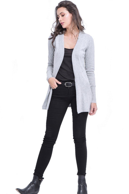 C&JO Longline Shawl Collar Cardigan with Pockets in Light Grey