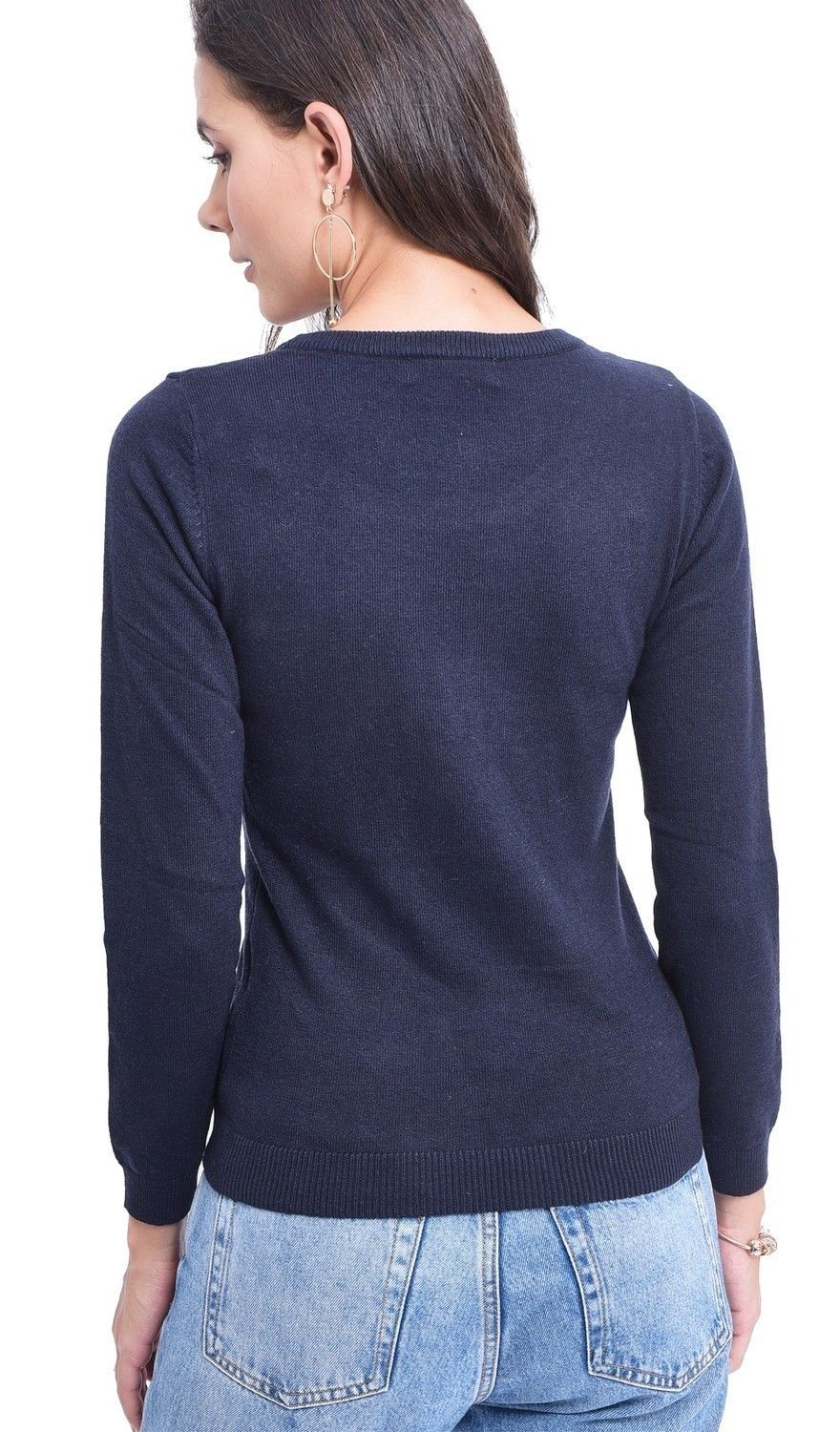 C&JO Round Neck Sweater with Shoulder Button Detail in Navy