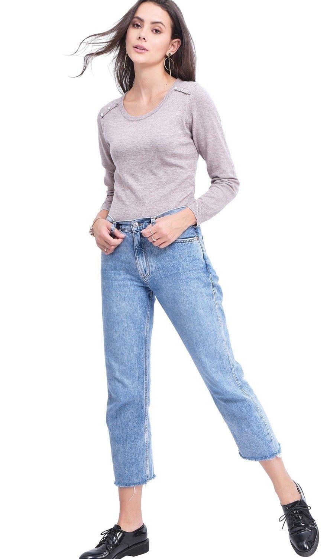C&JO Round Neck Sweater with Shoulder Button Detail in Beige