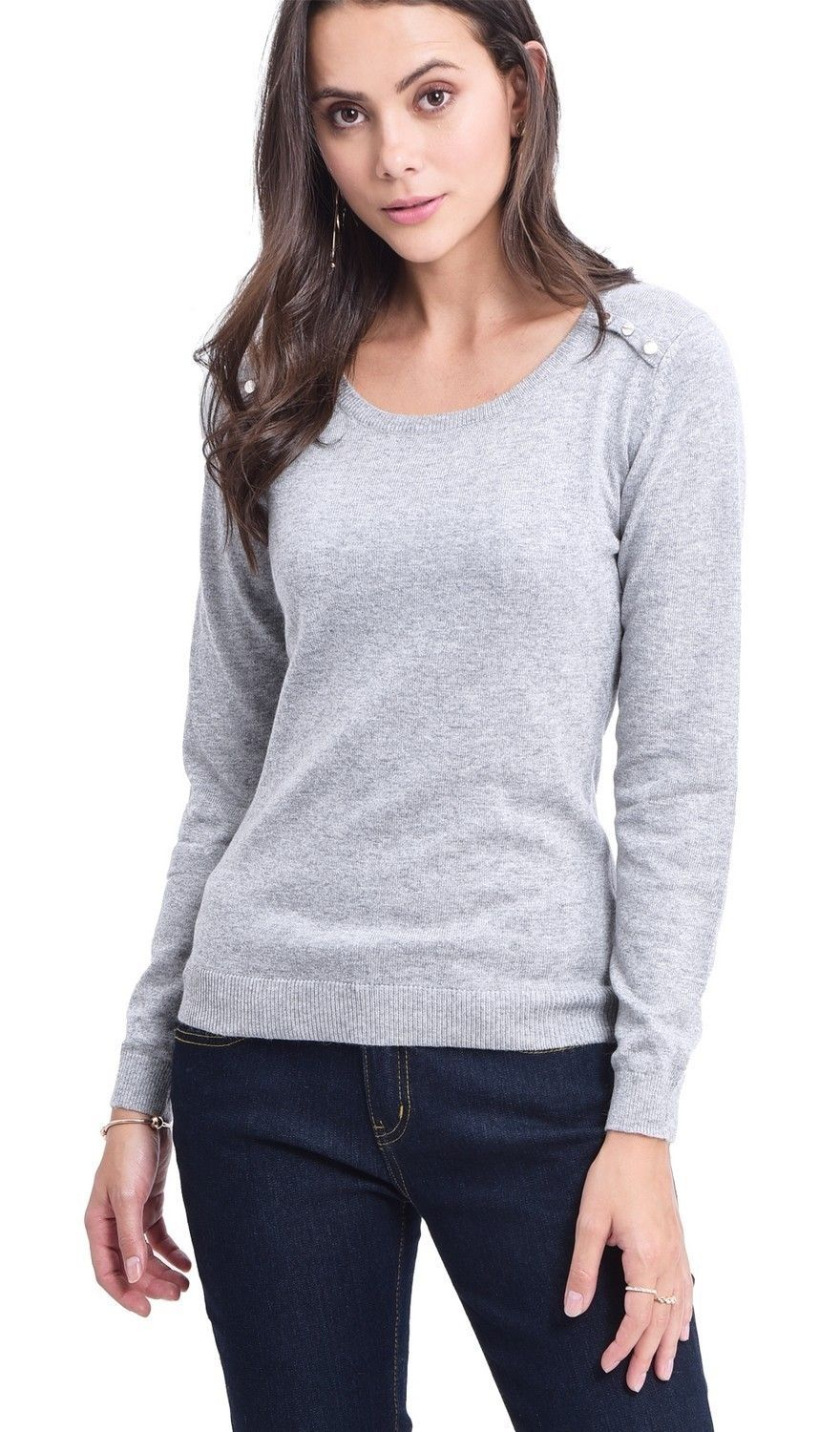 C&JO Round Neck Sweater with Shoulder Button Detail in Light Grey