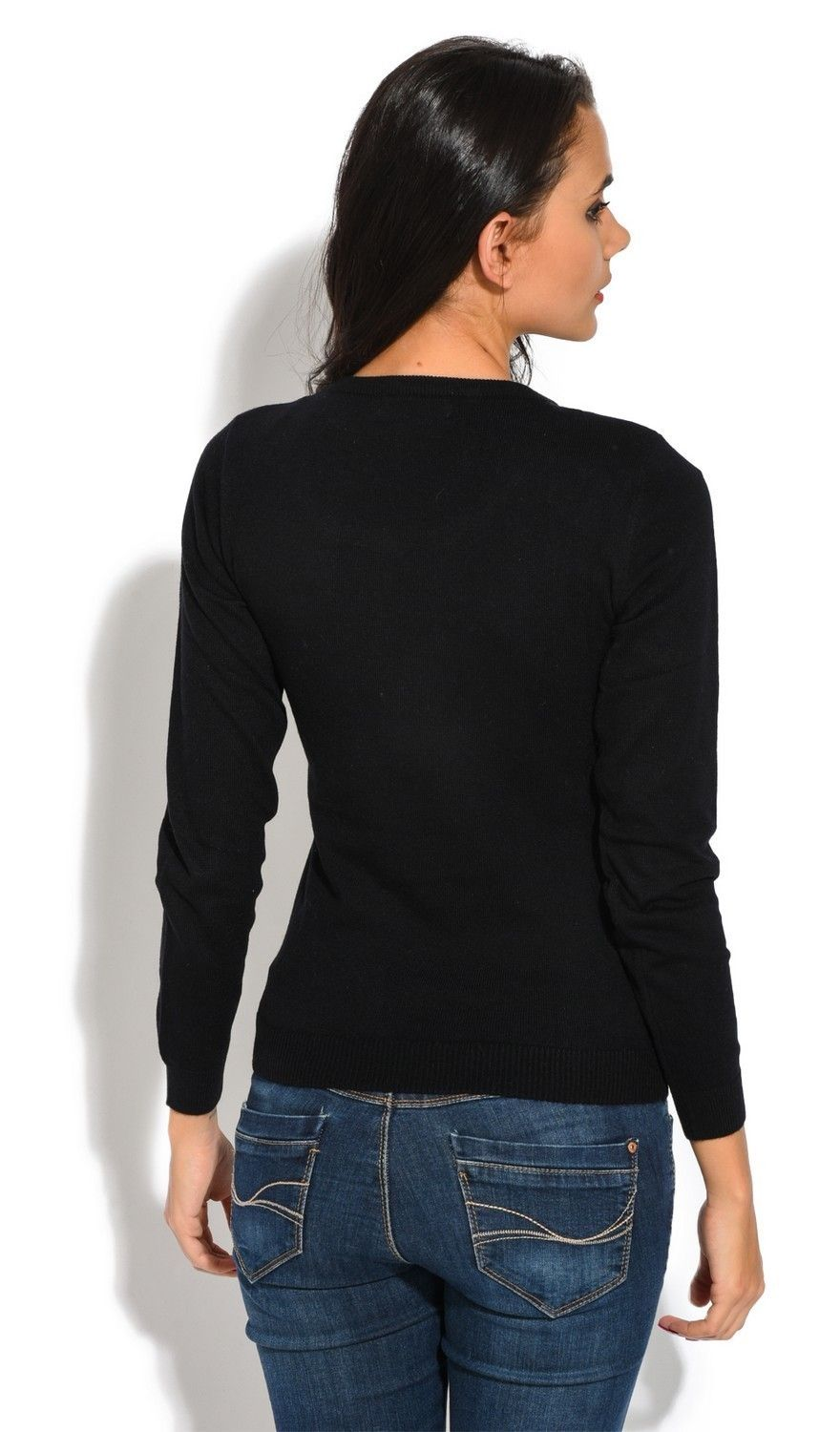 C&JO Round Neck Sweater with Shoulder Button Detail in Black