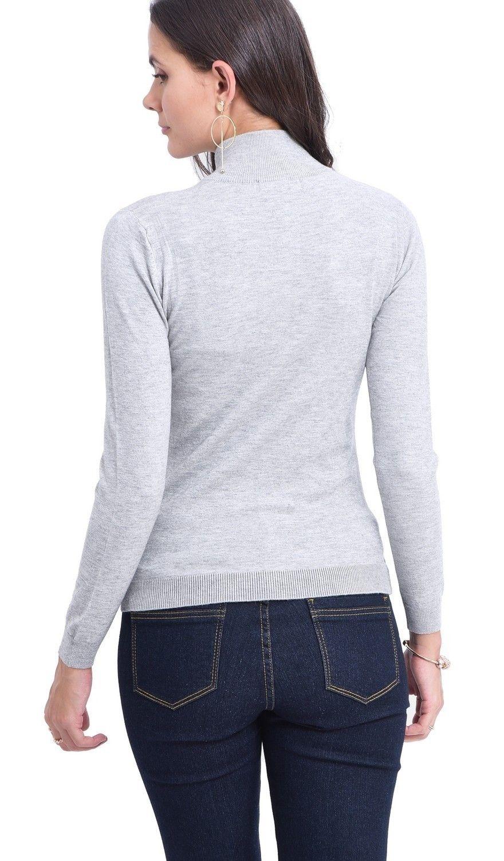 C&JO Zip Cardigan with Leather Zip in Light Grey