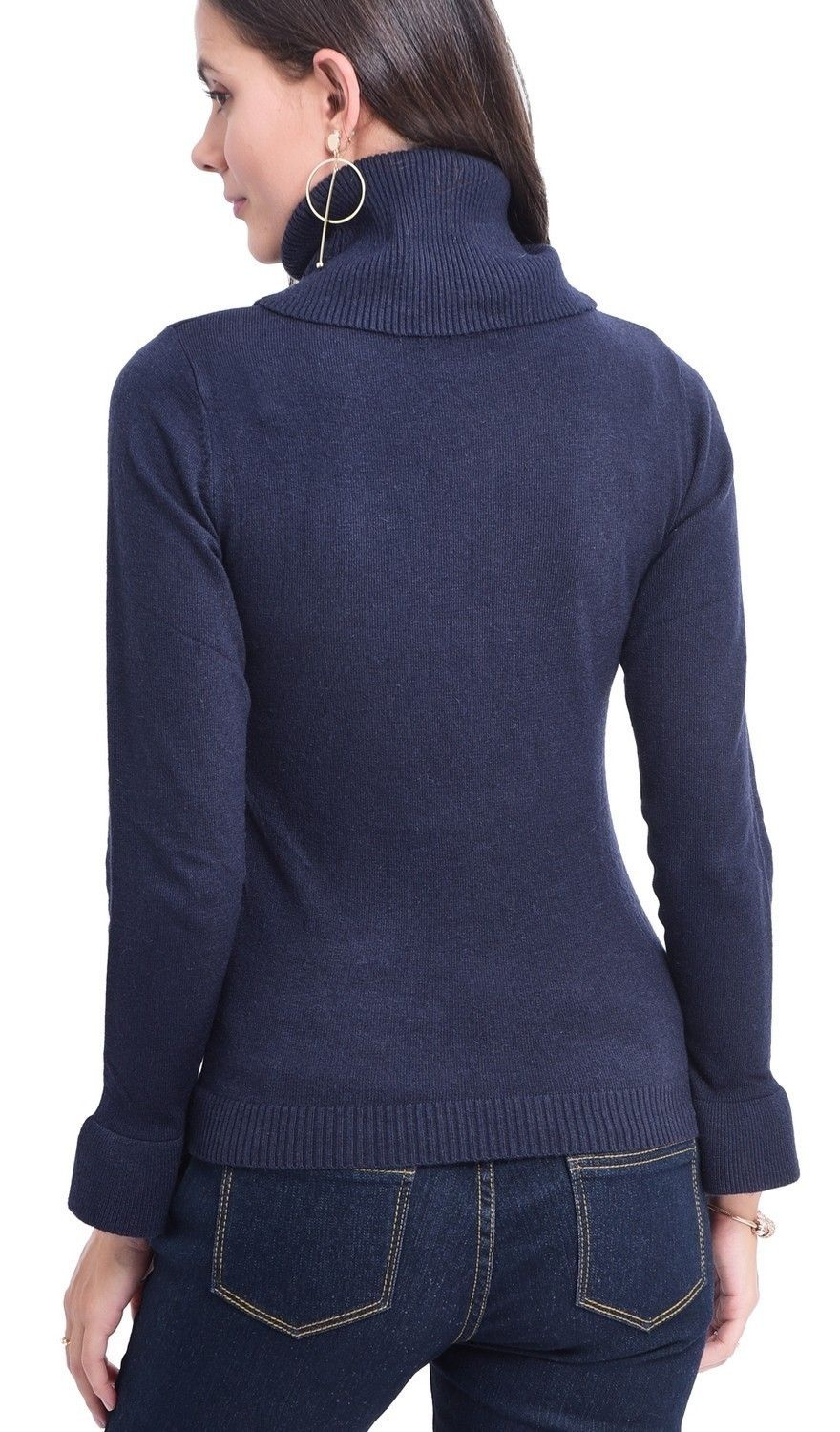 C&JO Roll Neck Ruffle Sleeve Sweater in Navy