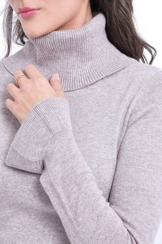 C&JO Roll Neck Ruffle Sleeve Sweater in Beige