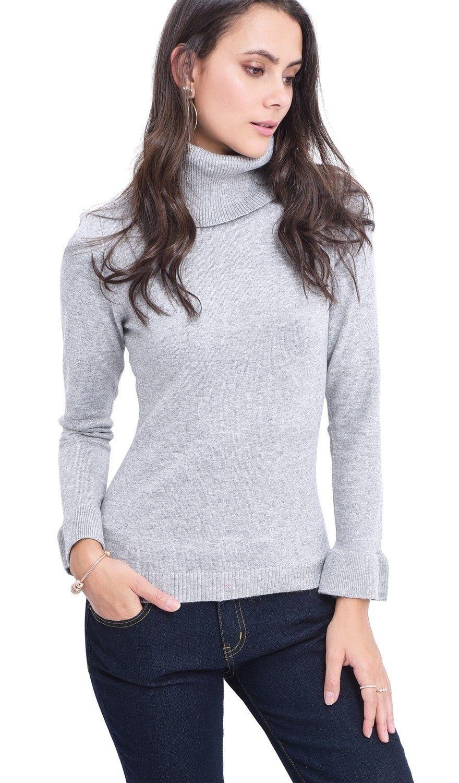 C&JO Roll Neck Ruffle Sleeve Sweater in Light Grey