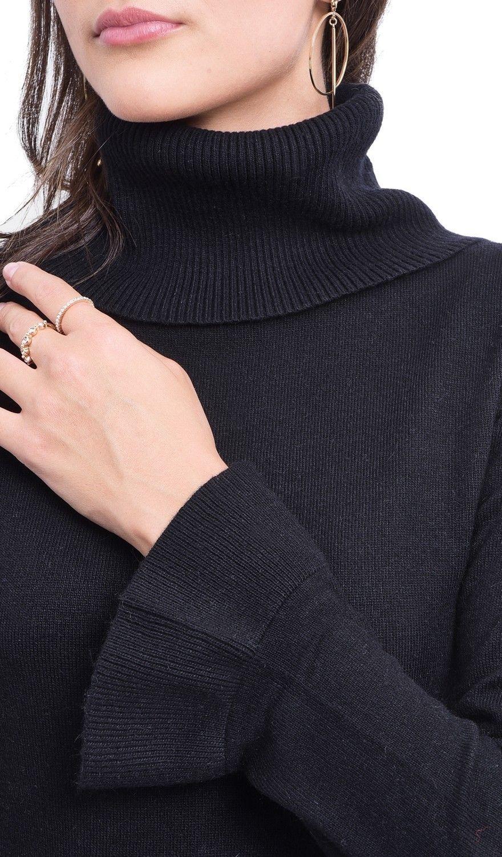 C&JO Roll Neck Ruffle Sleeve Sweater in Black