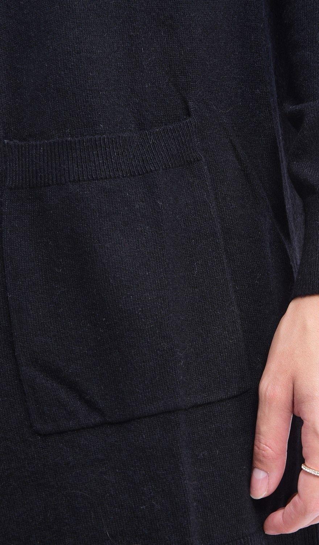 C&JO Long Sleeve Longline Cardigan with Pockets in Black