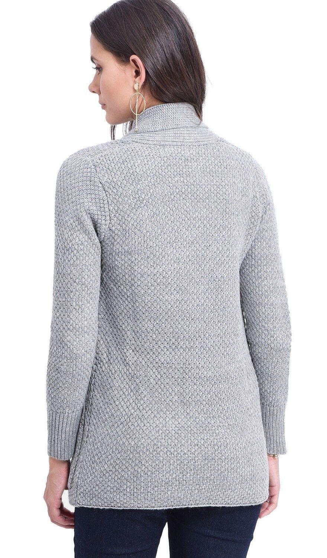 C&JO Pineapple Yarn Cardigan with Pockets in Grey