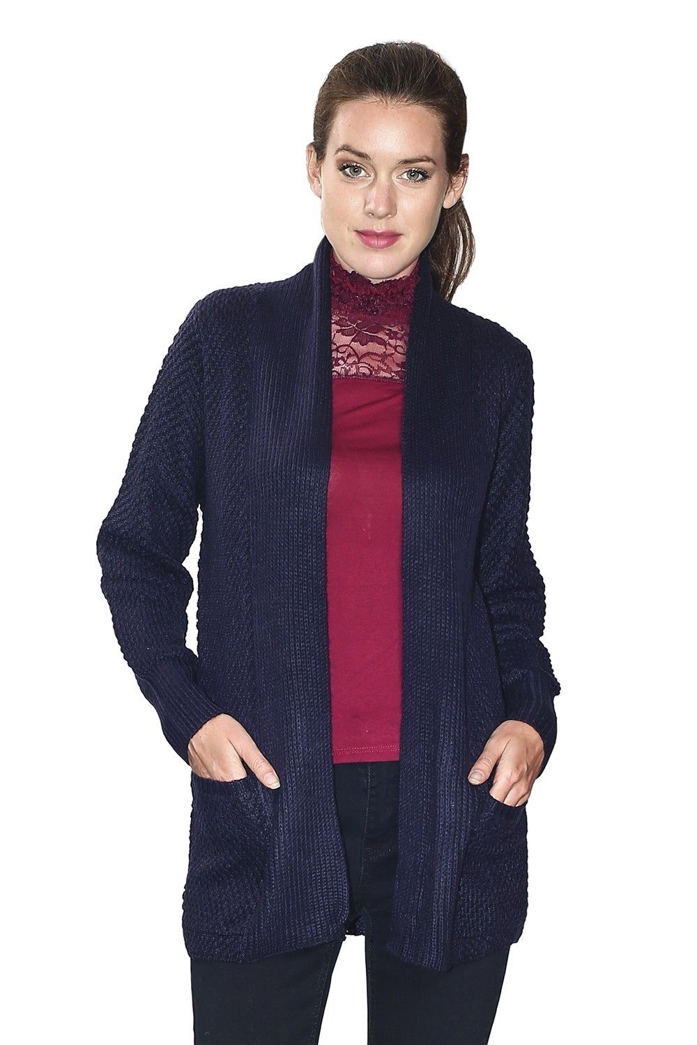 C&JO Pineapple Yarn Cardigan with Pockets in Navy