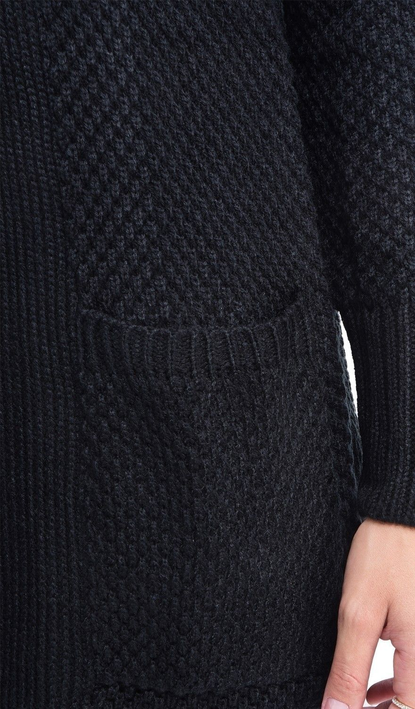 C&JO Pineapple Yarn Cardigan with Pockets in Black