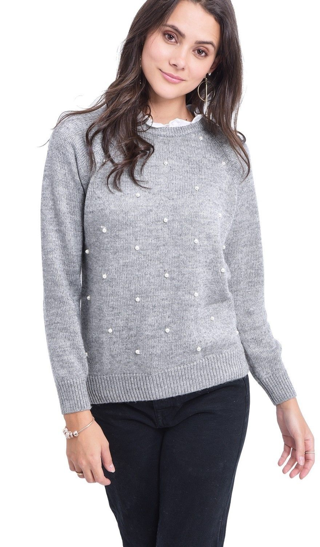 C&JO Pearl Beaded Shirt Collar Sweater in Grey