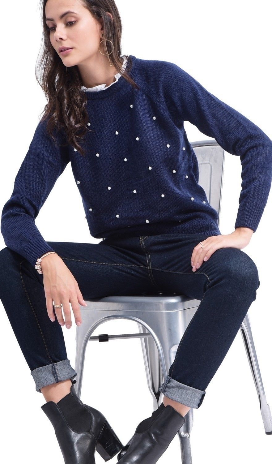 C&JO Pearl Beaded Shirt Collar Sweater in Navy