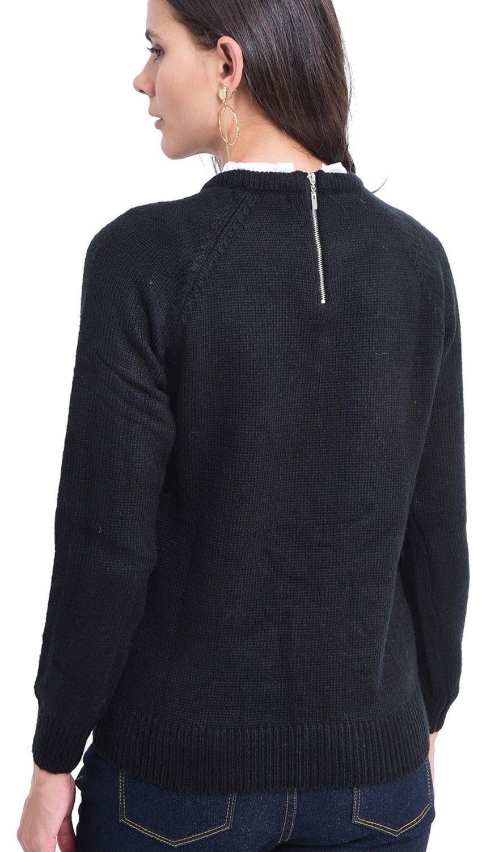C&JO Pearl Beaded Shirt Collar Sweater in Black