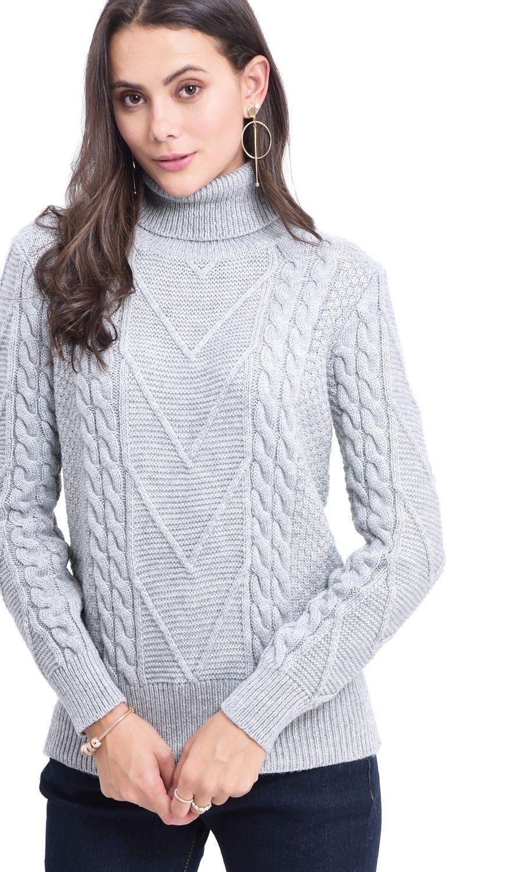 C&JO Turtleneck Twisted Yarn Sweater in Grey