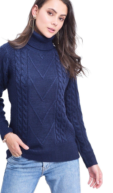 C&JO Turtleneck Twisted Yarn Sweater in Navy