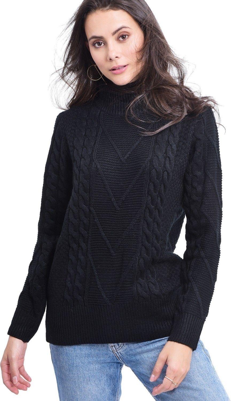 C&JO Turtleneck Twisted Yarn Sweater in Black