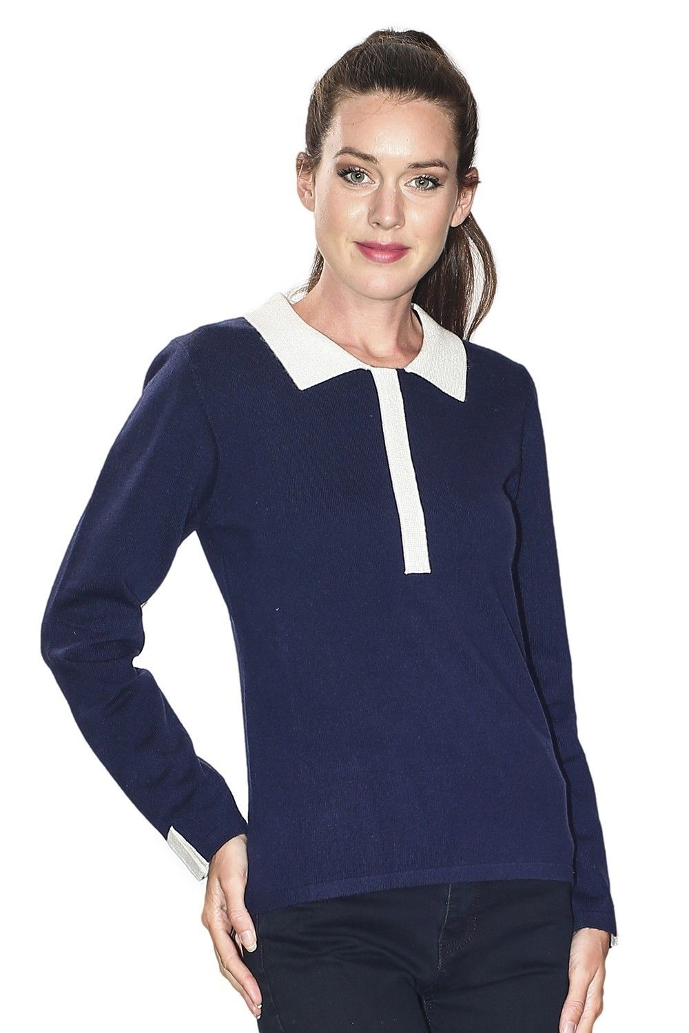 C&JO Two-tone Peter Pan Collar Sweater in Navy