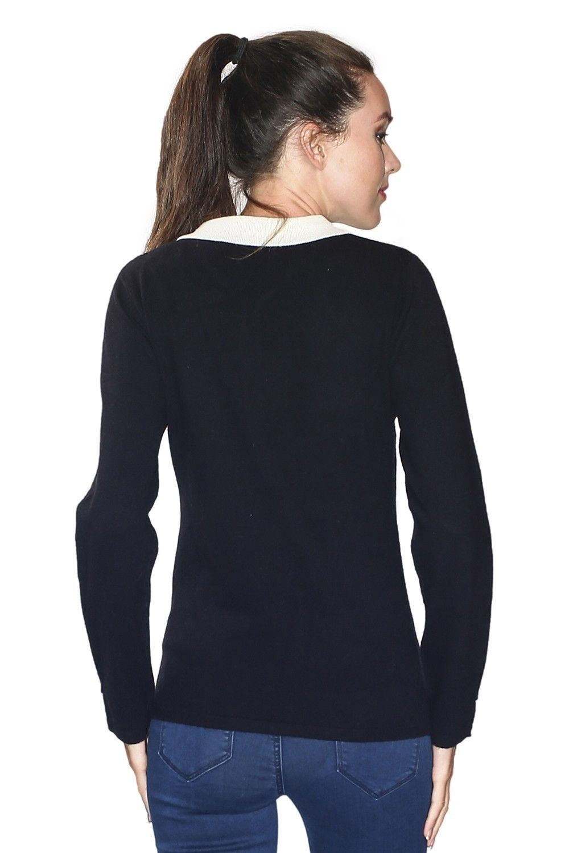 C&JO Two-tone Peter Pan Collar Sweater in Black