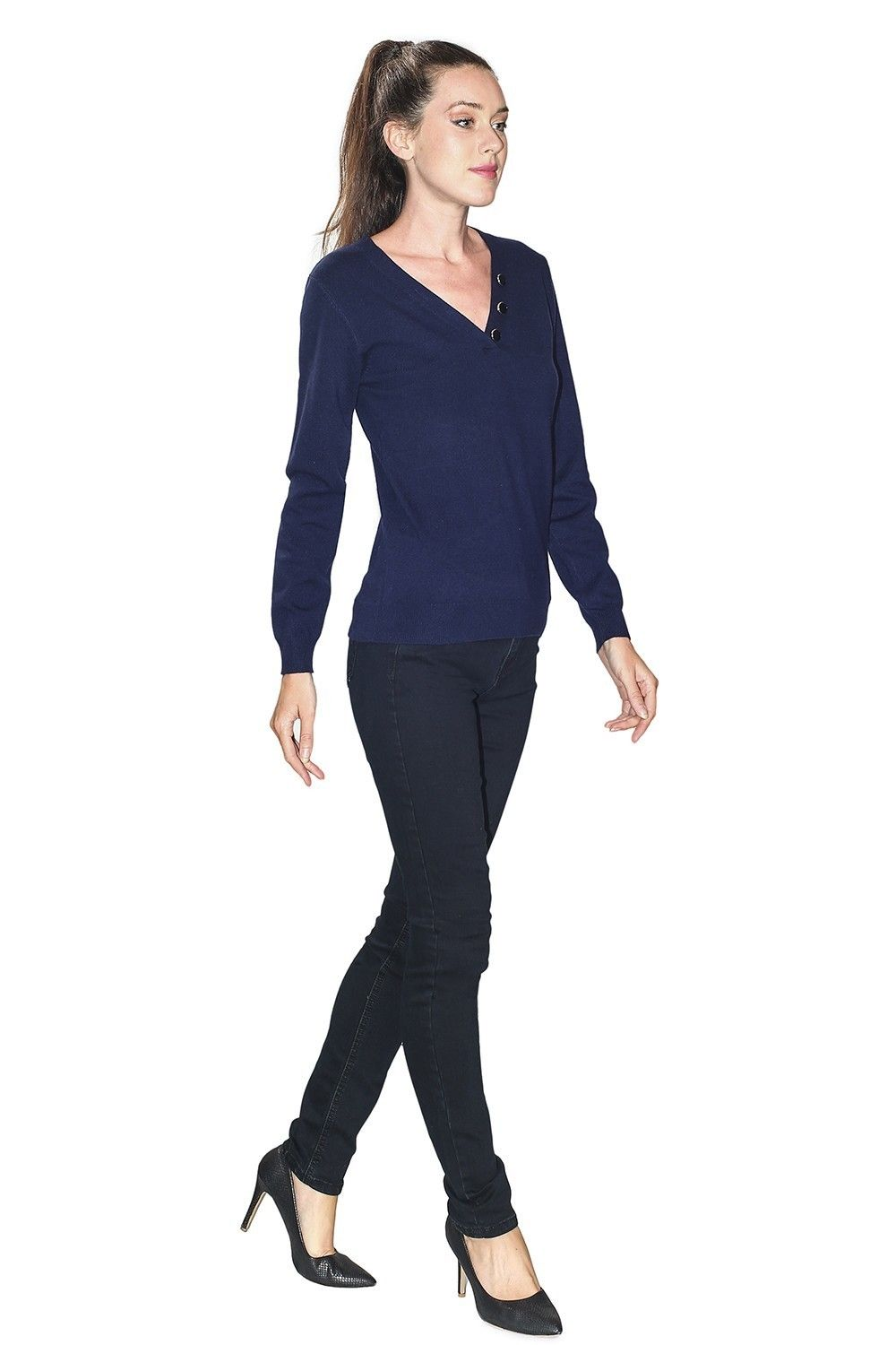 C&JO V-neck Button Detail Sweater in Navy