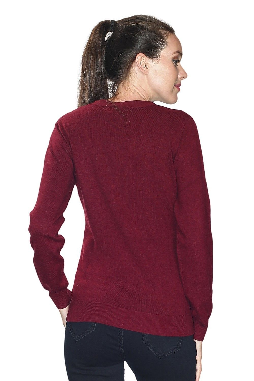 C&JO V-neck Button Detail Sweater in Maroon