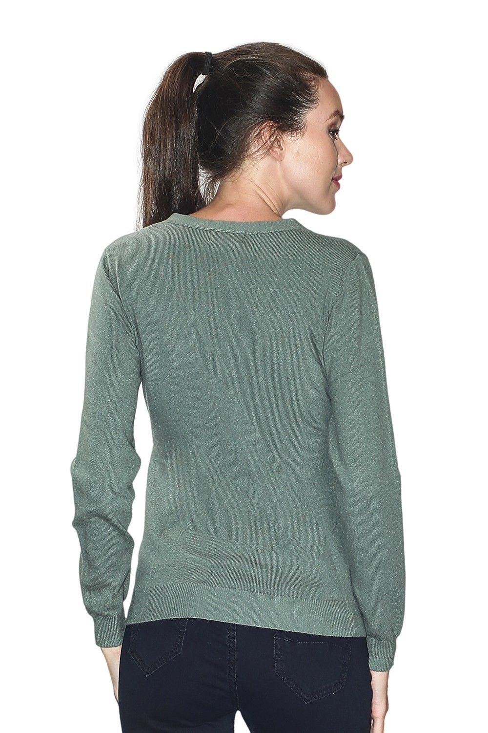 C&JO V-neck Button Detail Sweater in Green