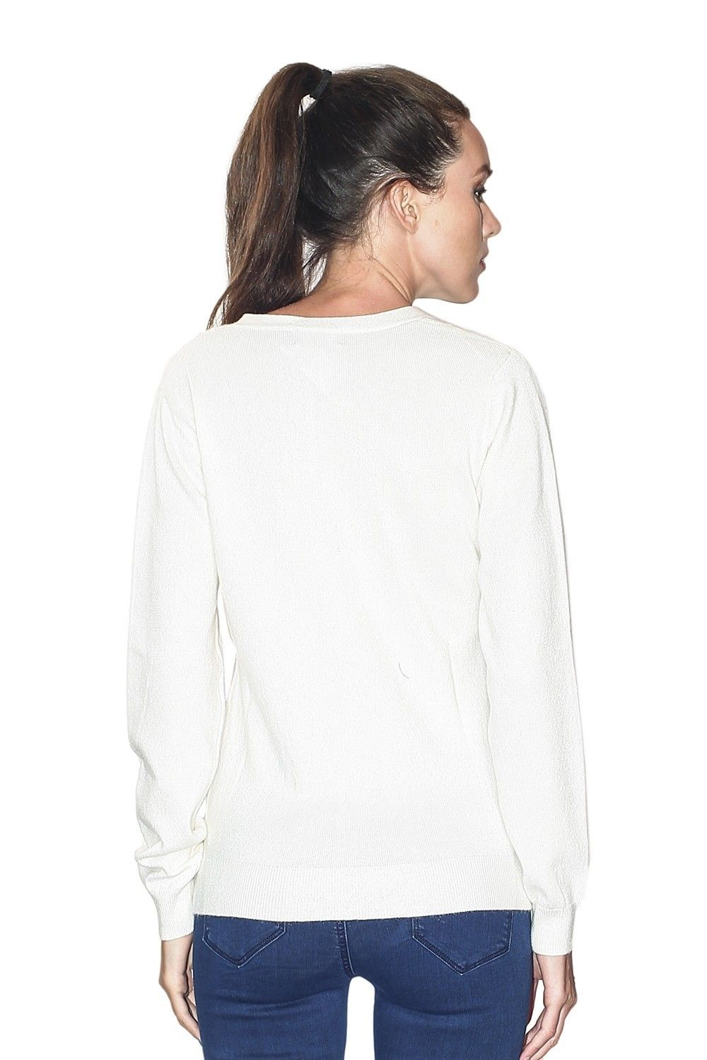 C&JO V-neck Button Detail Sweater in Natural