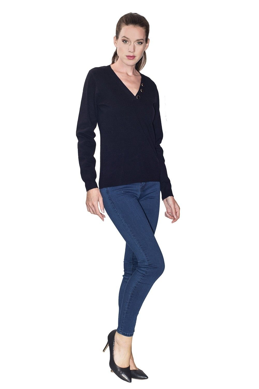 C&JO V-neck Button Detail Sweater in Black