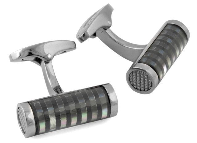 Striped cylinder cufflinks