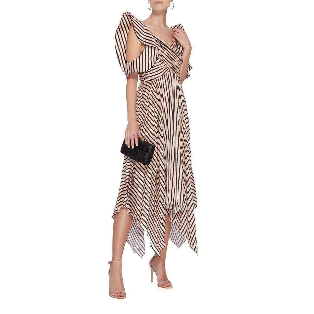 Self-Portrait Asymmetric Stripe Midi Dress