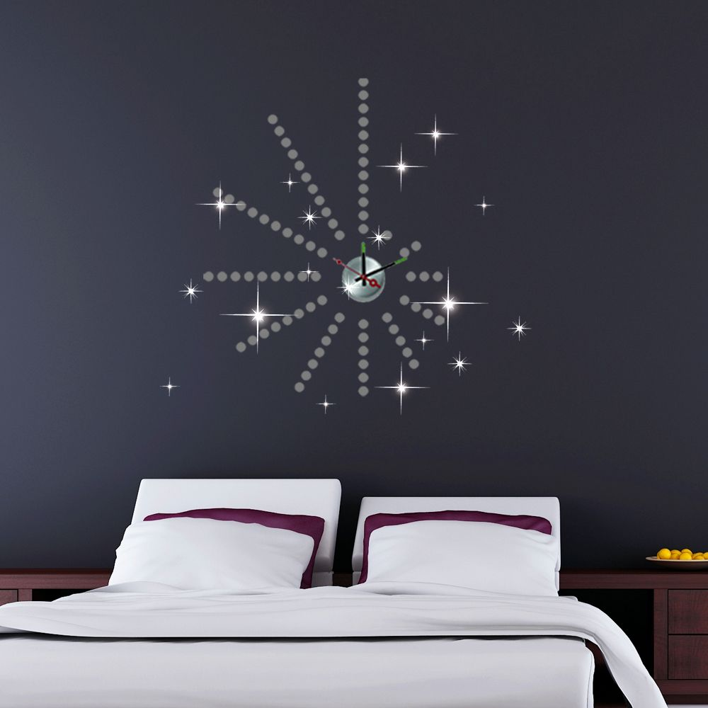 Walplus Wall Sticker Clock with Silver Dots and Swarovski Crystals