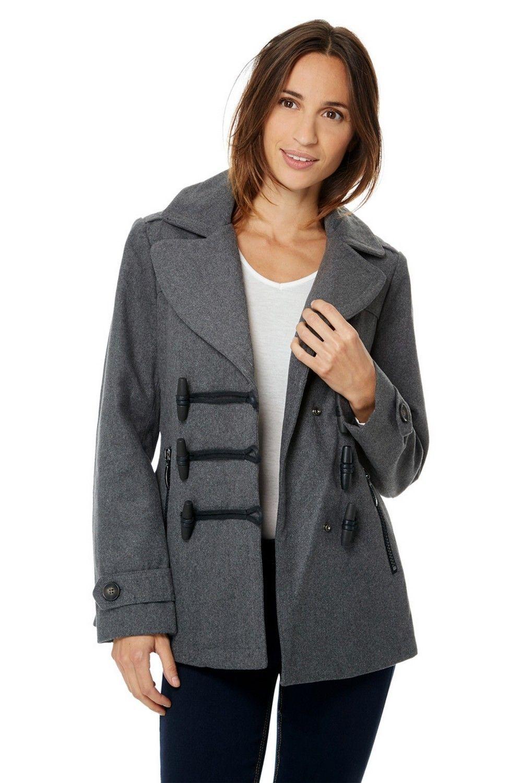 Assuili Short Duffle-style Coat in Grey