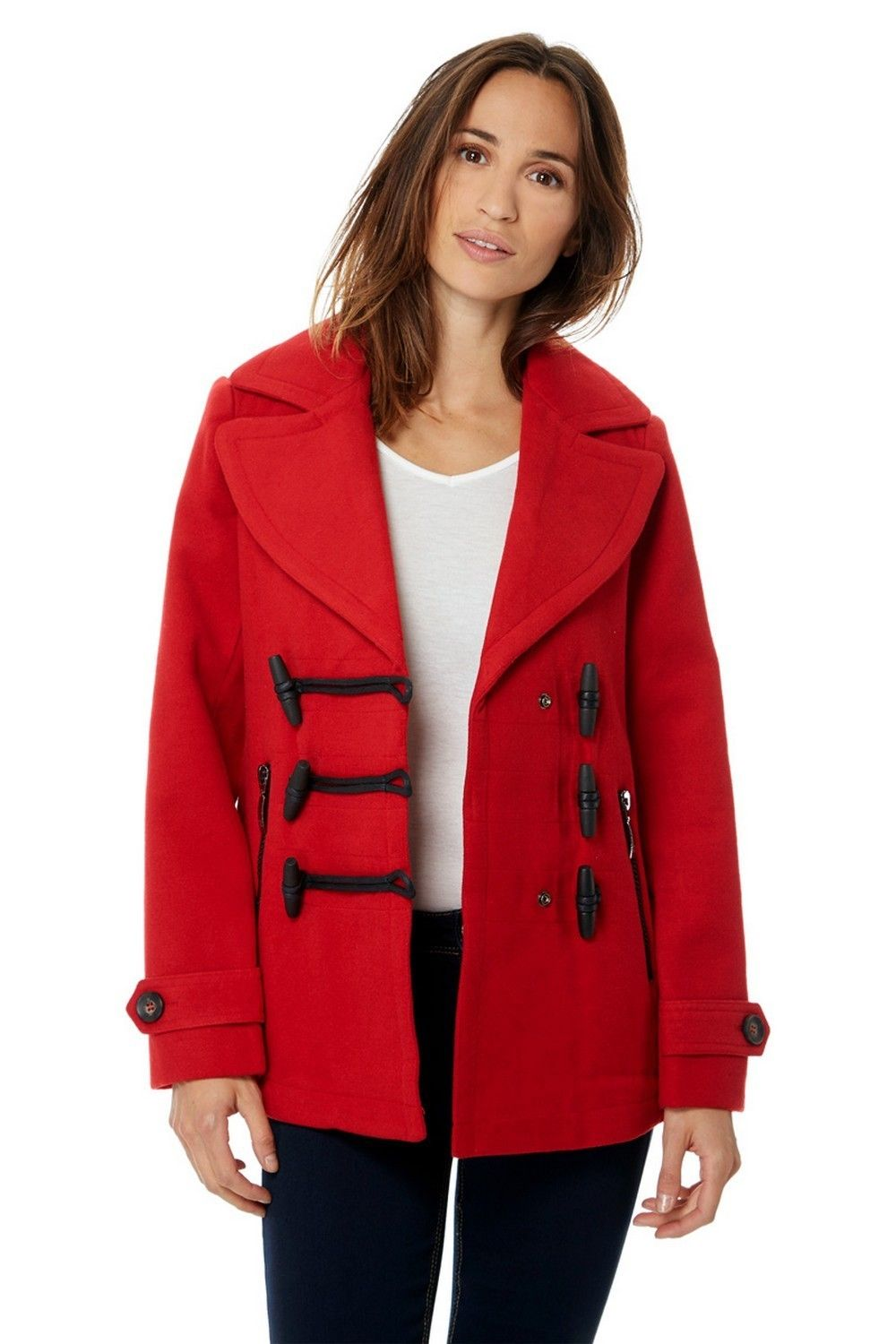 Assuili Short Duffle-style Coat in Red