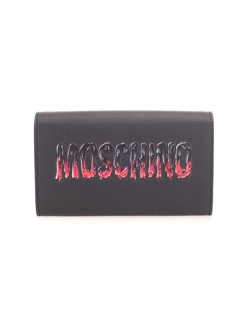 MOSCHINO WOMEN'S 81278210A1555 BLACK LEATHER POUCH