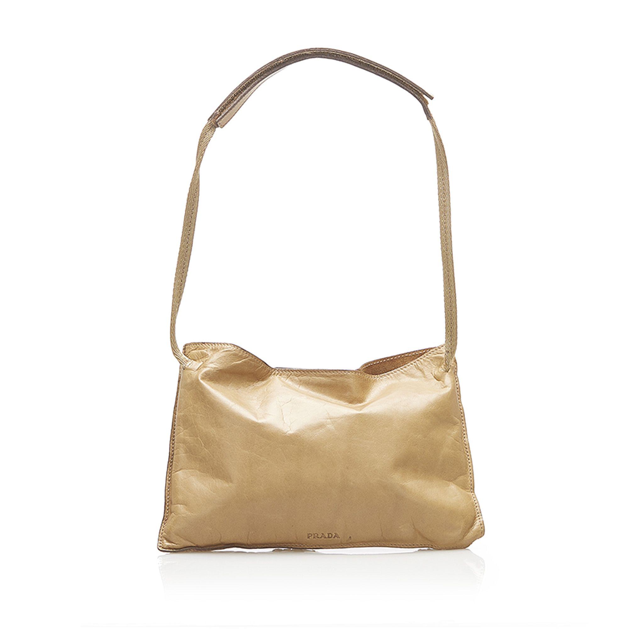 Vintage Prada Mirror Leather Shoulder Bag Brown