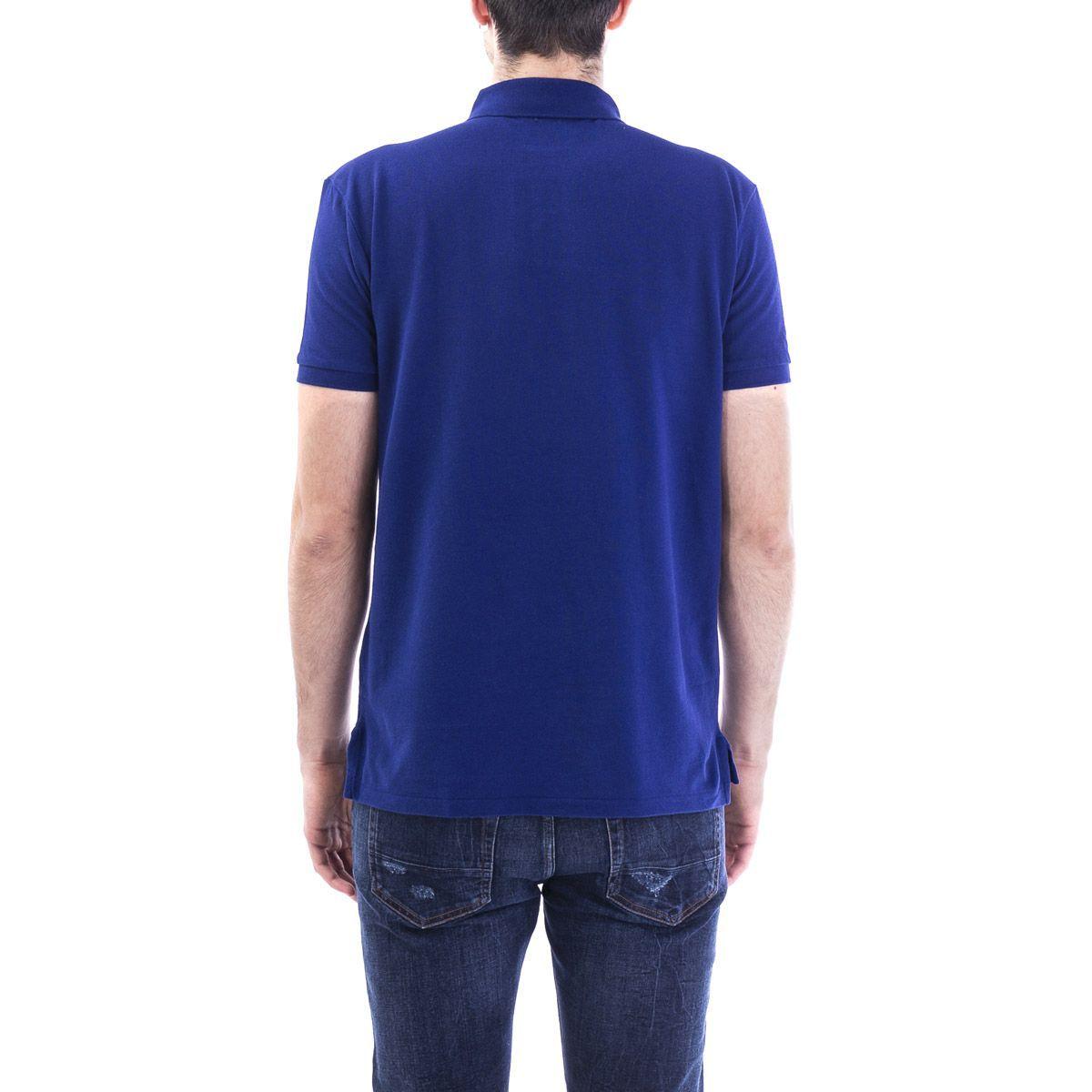 RALPH LAUREN MEN'S 710795080013 BLUE COTTON POLO SHIRT